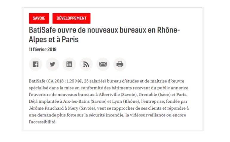 journal des entreprises - BatiSafe - février 2019
