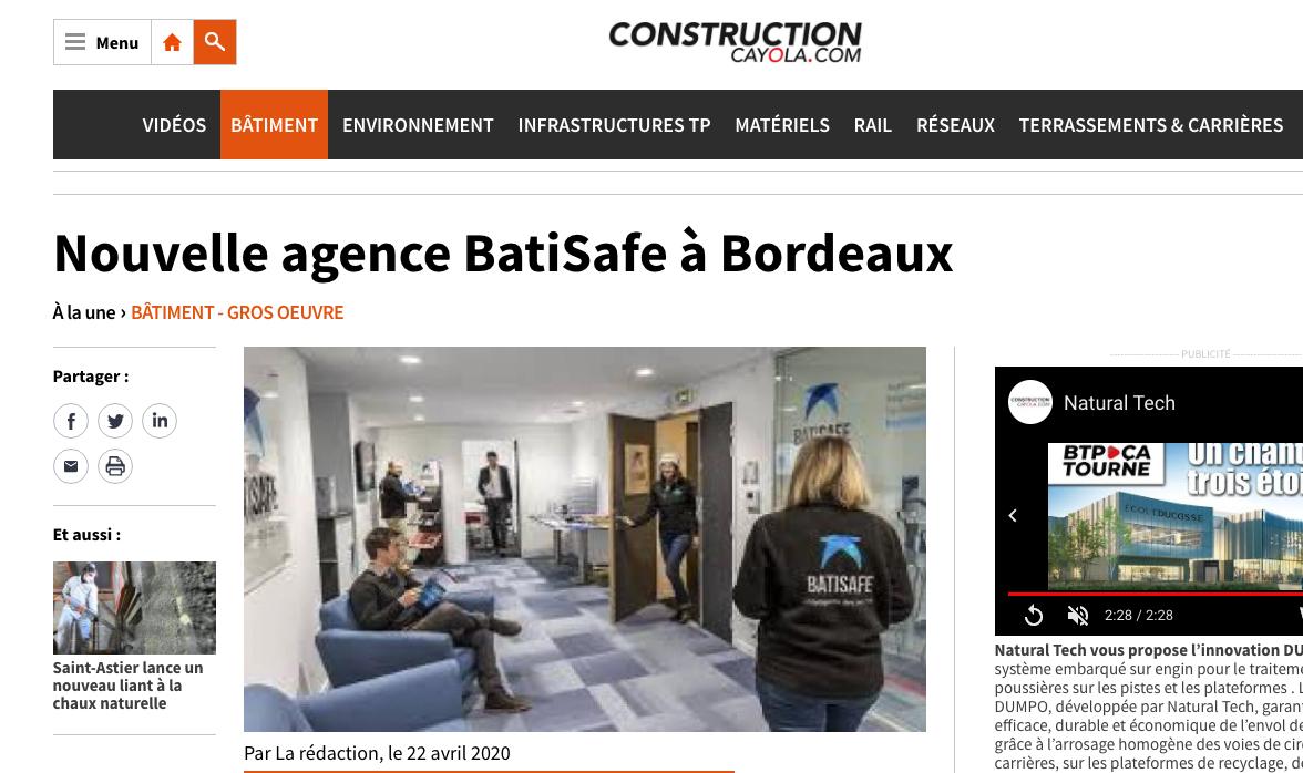 Construction Cayola - ouverture agence bordeaux BatiSafe