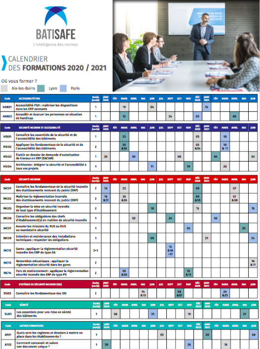 calendrier formation 2020